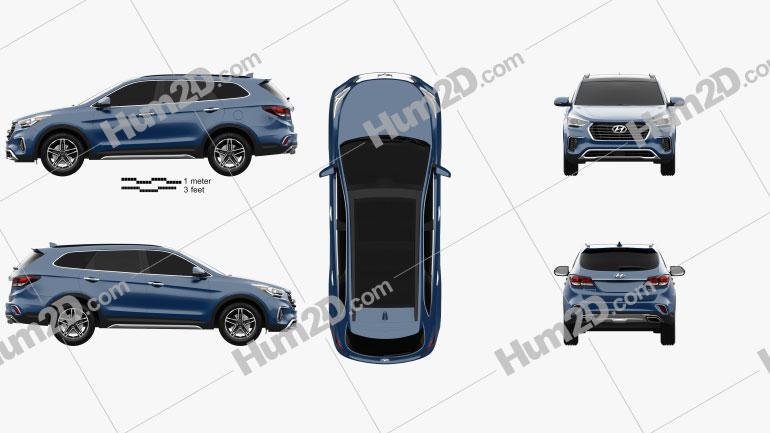 Hyundai Santa Fe (DM) 2017 Imagem Clipart