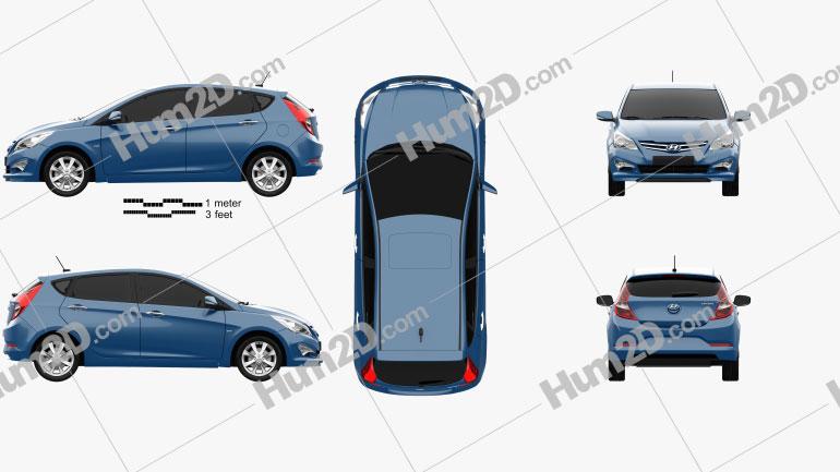 Hyundai Verna (Accent) 5-door hatchback 2014 car clipart