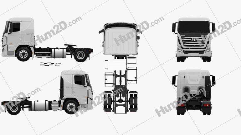 Hyundai Xcient P410 Tractor Truck 2013 clipart