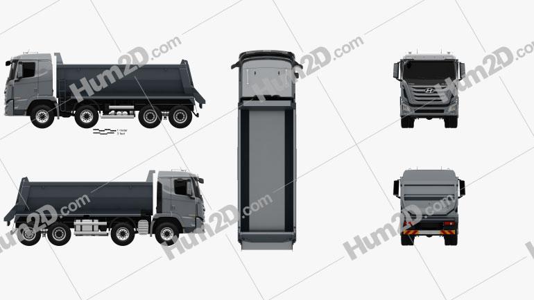 Hyundai Xcient P540 Dump Truck 4-axle 2013 Clipart Image