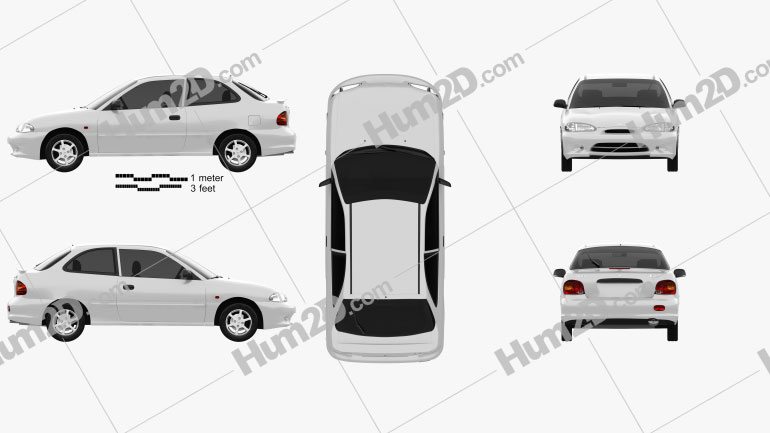 Hyundai Excel Sprint 1994 car clipart