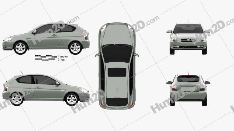 Hyundai Accent (MC) hatchback 3-door 2006 Clipart Image