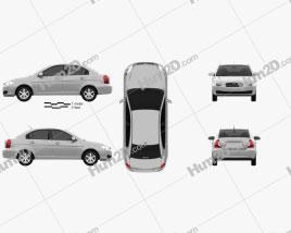 Hyundai Accent (MC) sedan 2006 car clipart