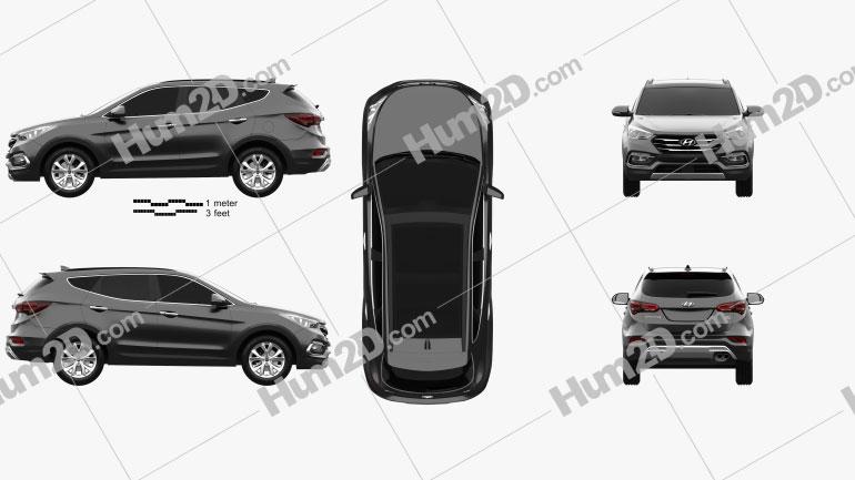 Hyundai Santa Fe (DM) KR-spec 2015 Clipart Image
