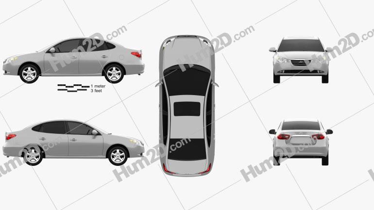 Hyundai Elantra (HD) 2007 car clipart
