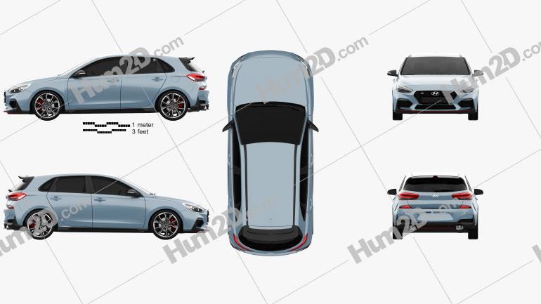 Hyundai i30 N hatchback 2017 car clipart