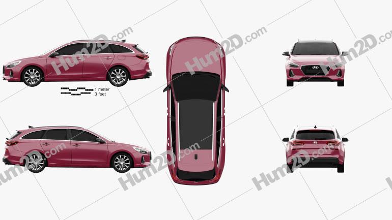 Hyundai i30 wagon 2017 car clipart