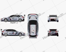 Hyundai i30 N TCR hatchback 2017 car clipart