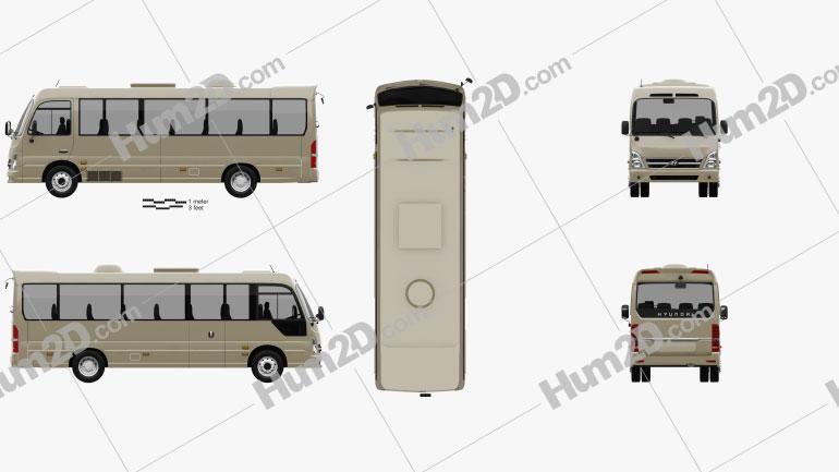 Hyundai County Bus 2018 clipart