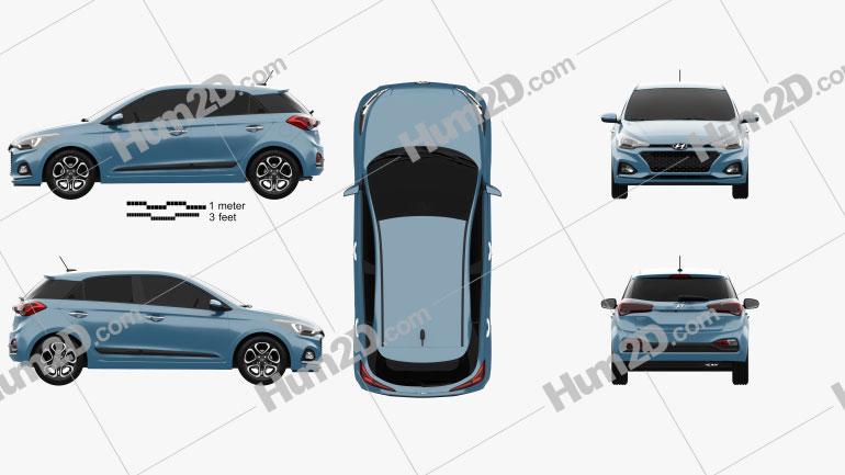 Hyundai i20 5-door 2018 car clipart