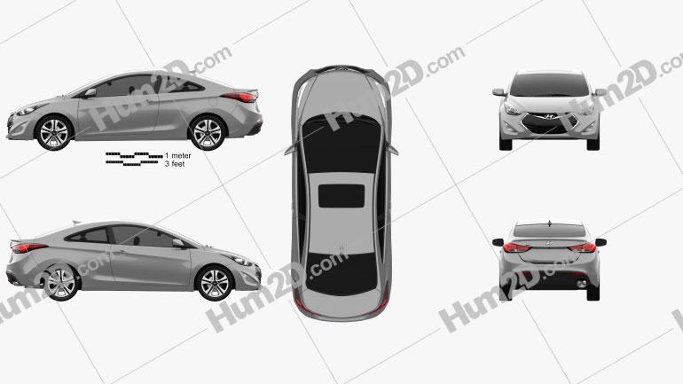Hyundai Avante coupe 2014 car clipart