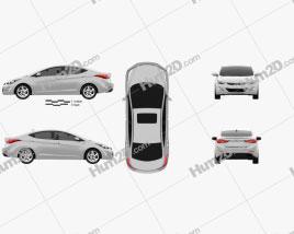 Hyundai Avante sedan 2014 car clipart