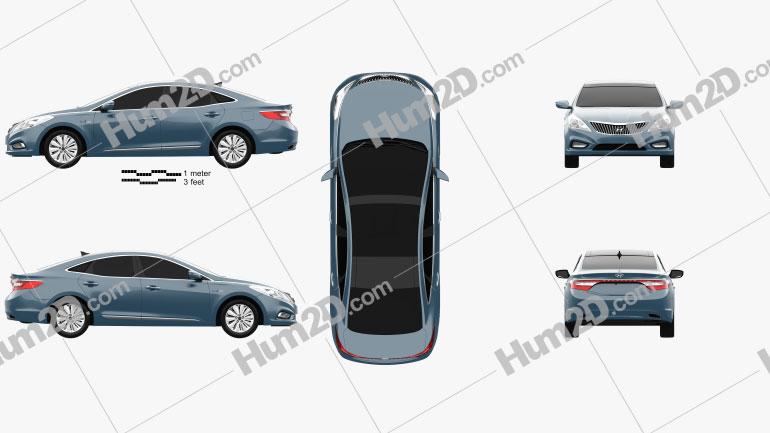 Hyundai Grandeur hybrid 2014 Clipart Image