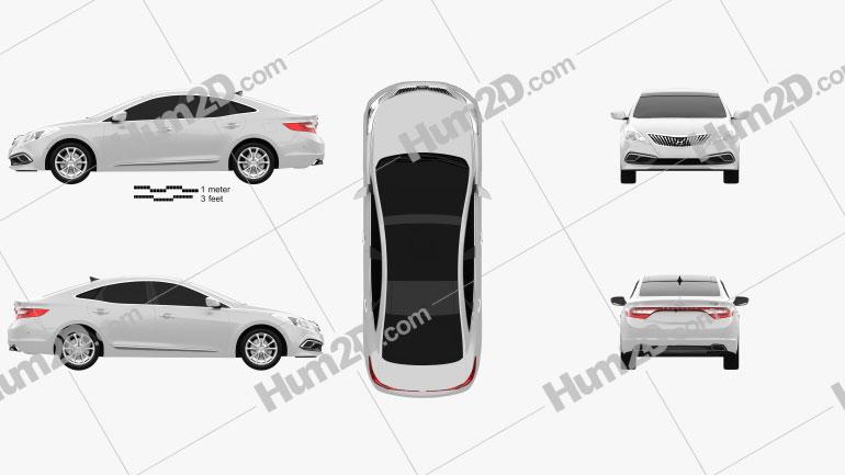 Hyundai Grandeur 2014 Clipart Image