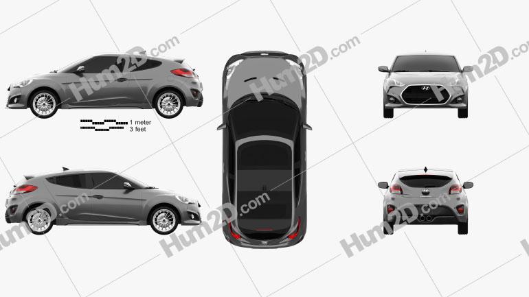 Hyundai Veloster Turbo 2014 Clipart Image