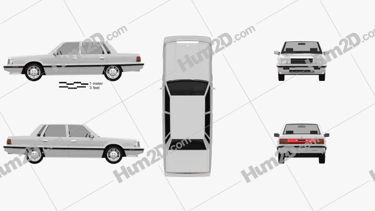 Hyundai Grandeur 1986 Clipart Image
