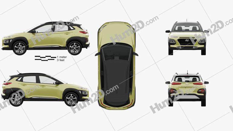 Hyundai Kona with HQ interior 2018 car clipart