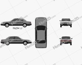 Hyundai Grandeur 1992 car clipart