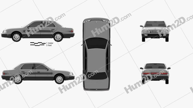 Hyundai Grandeur 1992 Clipart Bild