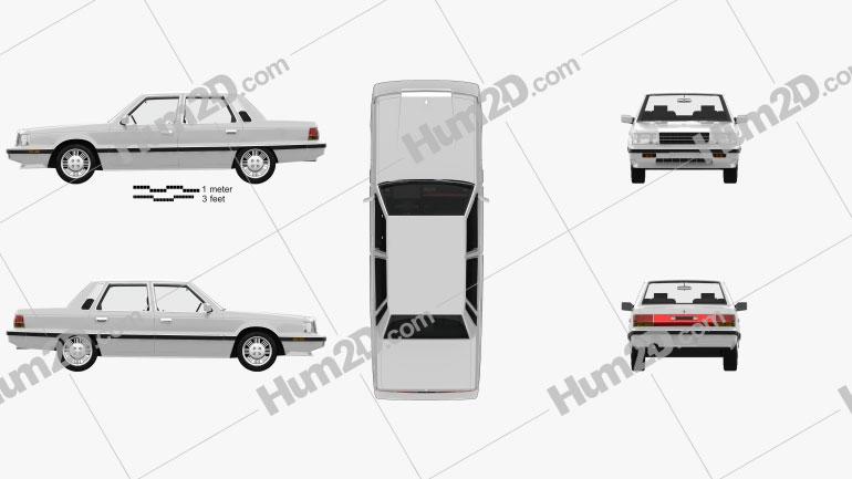 Hyundai Grandeur with HQ interior 1986 car clipart
