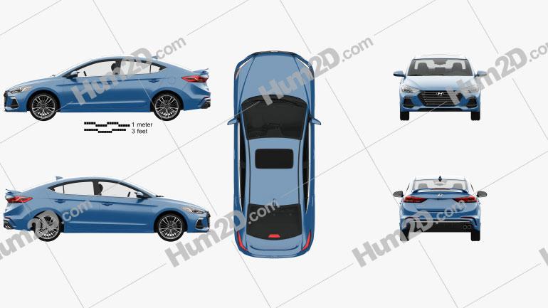 Hyundai Avante Sport with HQ interior 2017 car clipart