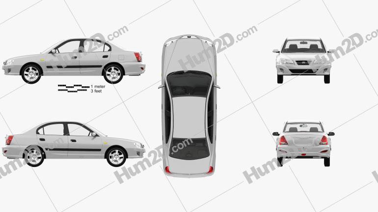 Hyundai Elantra (XD) CN-spec with HQ interior 2010 car clipart