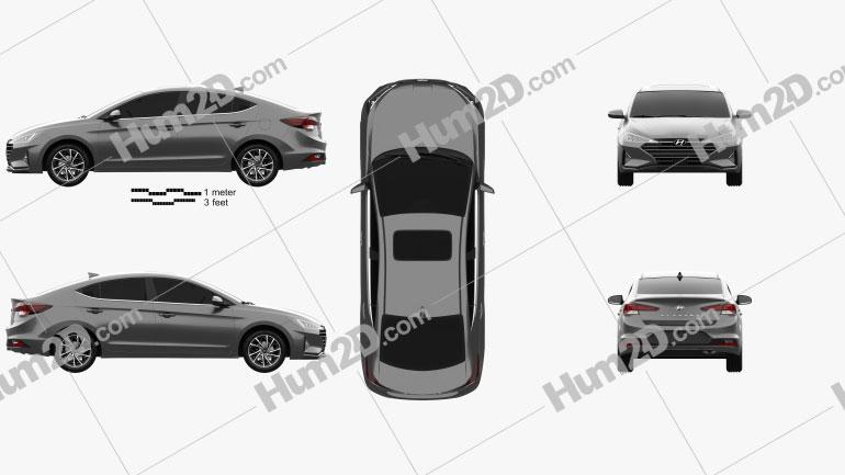 Hyundai Elantra Limited 2019 car clipart
