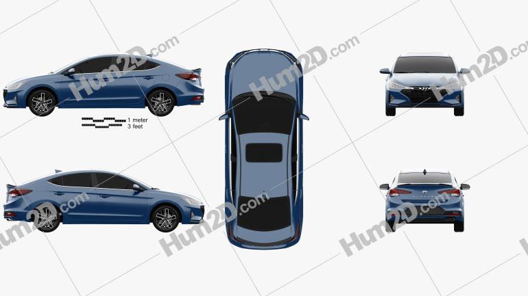 Hyundai Elantra Sport Premium 2019 car clipart