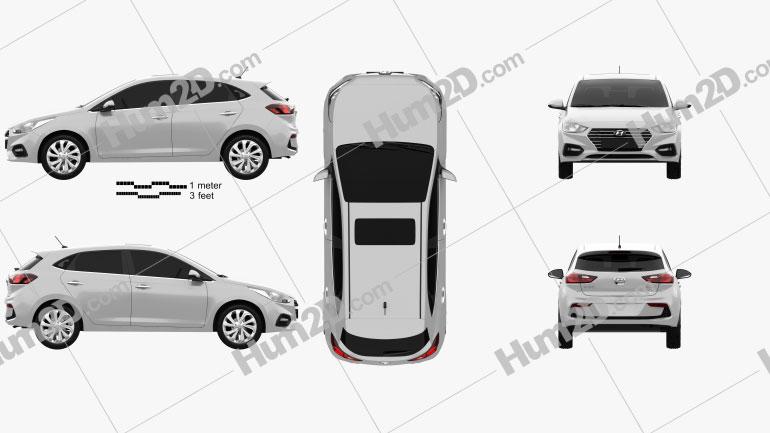 Hyundai Accent hatchback 2017 car clipart