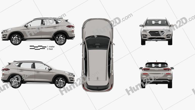 Hyundai Tucson with HQ interior 2018 Clipart Image