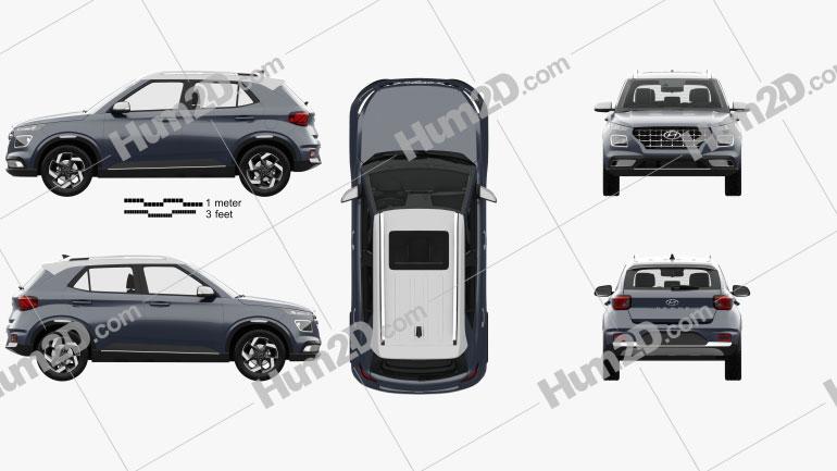 Hyundai Venue with HQ interior 2020 car clipart