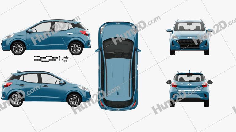 Hyundai i10 Grand Nios with HQ interior 2019 car clipart