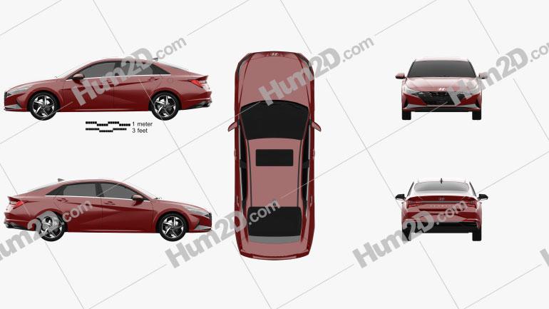 Hyundai Elantra US-spec 2020 car clipart