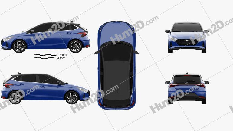Hyundai i20 2020 car clipart