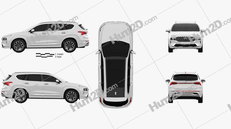 Hyundai Santa Fe 2021 car clipart