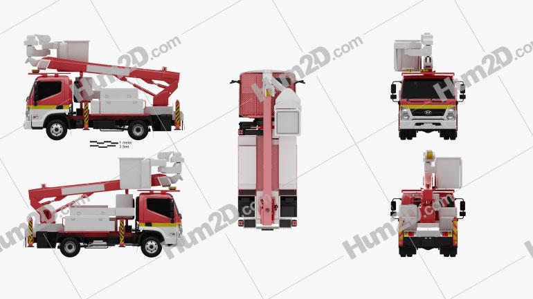Hyundai Mighty DHT-150ASB Bucket Truck 2020 Clipart Image