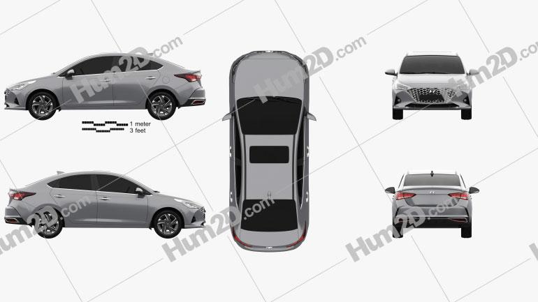 Hyundai Verna sedan 2020 car clipart