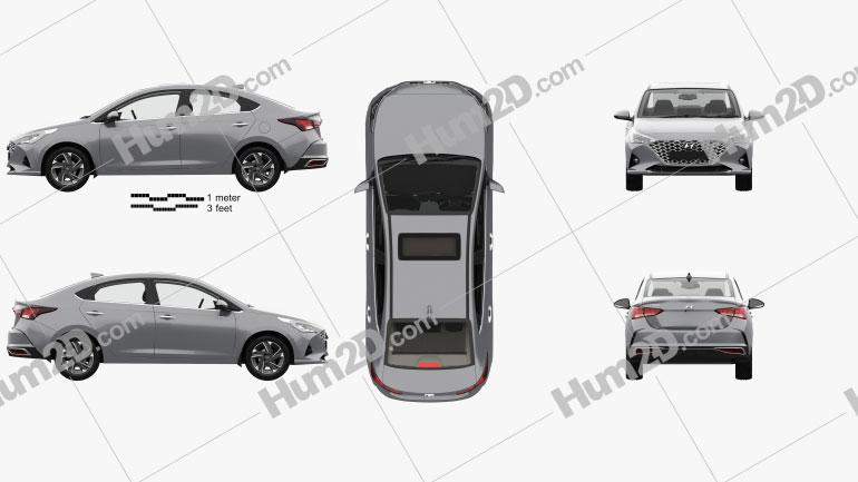 Hyundai Verna sedan with HQ interior 2020 Clipart Image