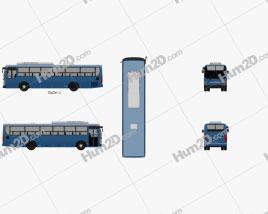 Hyundai Super Aero City Bus 2019 clipart