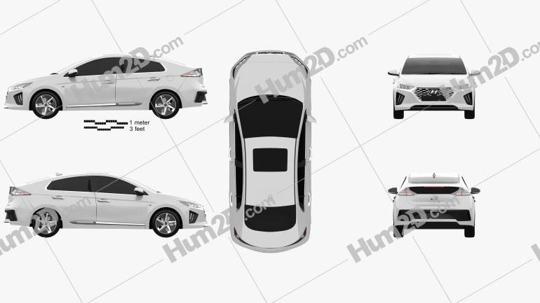 Hyundai Ioniq hybrid 2019 car clipart