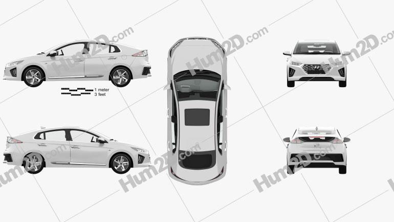 Hyundai Ioniq hybrid with HQ interior 2019 car clipart