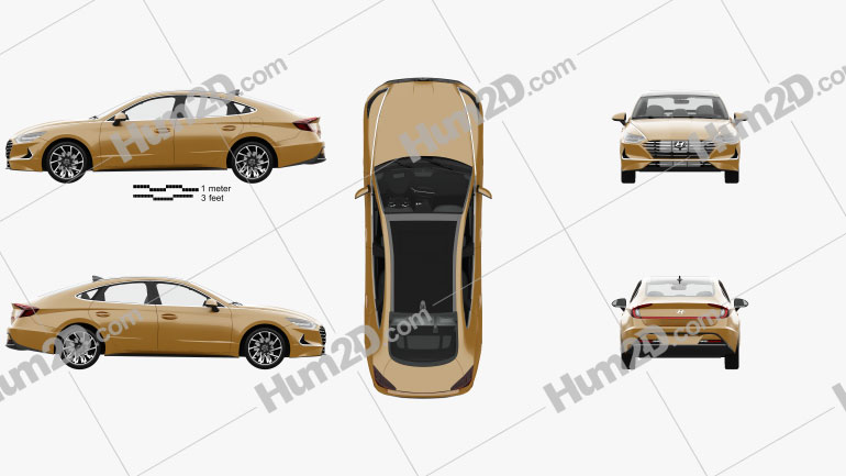 Hyundai Sonata with HQ interior and engine 2020 Clipart Image