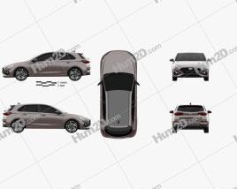 Hyundai i30 hybrid hatchback 2020 car clipart