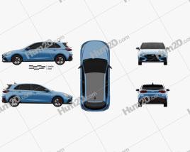 Hyundai i30 N hatchback 2020 car clipart