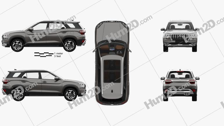 Hyundai Alcazar with HQ interior 2021 car clipart