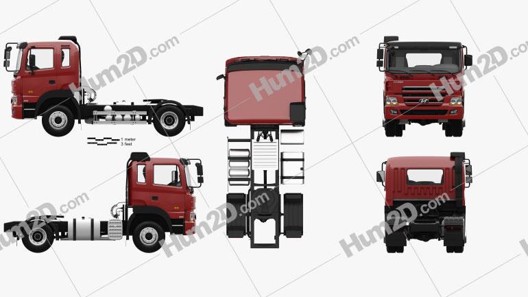 Hyundai Trago Tractor Truck 2-axle with HQ interior 2008 clipart