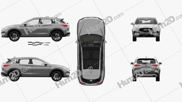 Infiniti QX50 with HQ interior 2019 car clipart