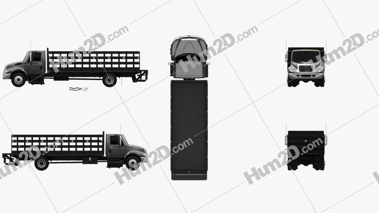 International DuraStar Flatbed Truck 2002 clipart