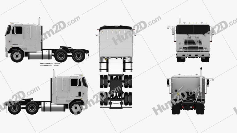 International 9600 Tractor Truck 1994 clipart