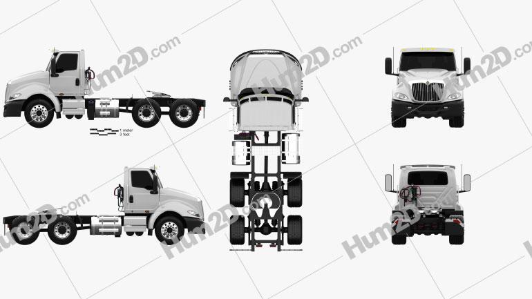 International RH Day Cab Tractor Truck 2018 clipart
